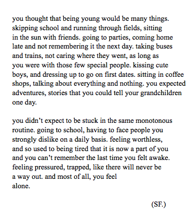 rouyalty:  autumnseeds:  Being Young (2013)  this really sums it up so well