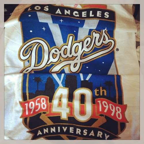 Found this treasure hidden in the closet today! 15 year old Dodgers towel, brand spanking new! Childhood memories of Dodgers Stadium. #losangelesdodgers #1998 #40thanniversary #wejusthadour55 #laallday #losdoyers  (at Chicken Hawk HQ)