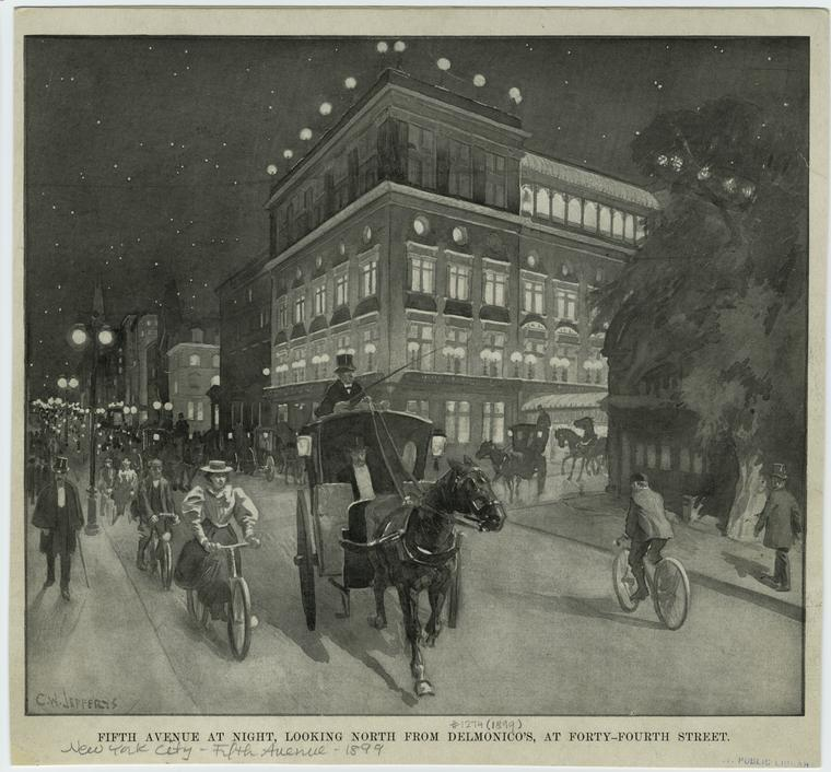 1899 - Fifth Avenue at night, looking north from 44th St. The artist is Charles W Jefferys, This illustration comes courtesy of the New York Public Library's amazing digital archive.