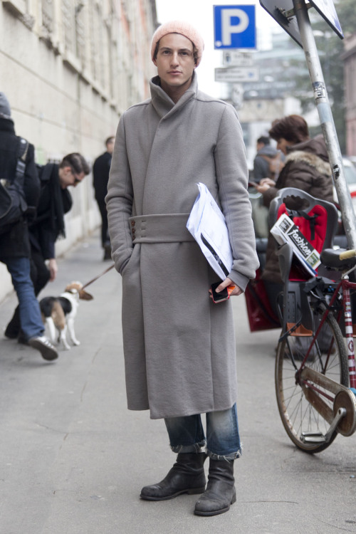 Long coat, pink hat after Costume National FW13 MFW