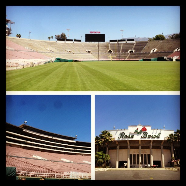 Tuesday at the Rose Bowl. #rookiepremiere #rosebowl #ca #la #pasadena #picstitch (at Rose Bowl Stadium)