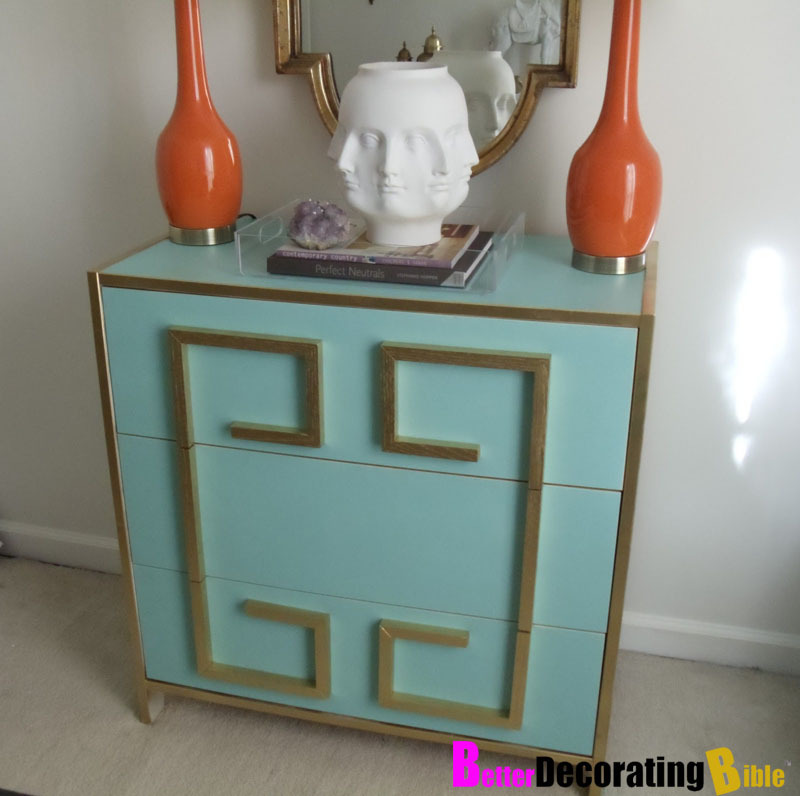 Greek Key Dresser | Remodelaholic One thing I always keep in mind when I feature a post is: would this be cheaper than buying it? I don't know about y'all but I have a limited budget and when it comes to something like furniture, I like to get second hand or as cheap as possible (especially as my tastes change every month!). If you look back through the archive you will see lots of DIYs on remodelling dressers. They are perfect not only for the bedroom, but also great for the dining room (keep your cutlery, table mats, etc) or your hallway (a great place to store scarves, leave your keys). The plain dressers from IKEA are particularly easy to makeover because there's no extra bits and pieces already added to them. The greek key pattern here is a timeless design and can be painted in so many different combinations. If you're not keen on cutting up the pieces yourself, ask them to cut them at the hardware store. p.s. Love that vase!