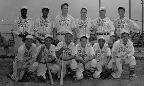 "With the 2013 baseball season underway, take a look at a bit of baseball from our holdings!  During World War II, Camp Ross was used by the Army as a cantonment area for U.S. troops at the Los Angeles Port of Embarkation.  In 1945, the baseball team was integrated. This photo, found in the Records of the Office of the Chief of Transportation at the National Archives at Riverside is featured in our latest eBook: ""Baseball: The National Pastime in the National Archives."" It is available at http://www.archives.gov/publications/ebooks/index.html#baseball for iPad, iPhone, Android, or eReader."