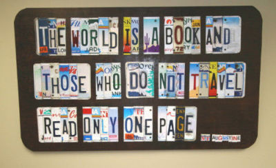 jyhslibrary:  Love this licence plate display - would be cool for a summer display, shame UK licence plates aren't are pretty though.