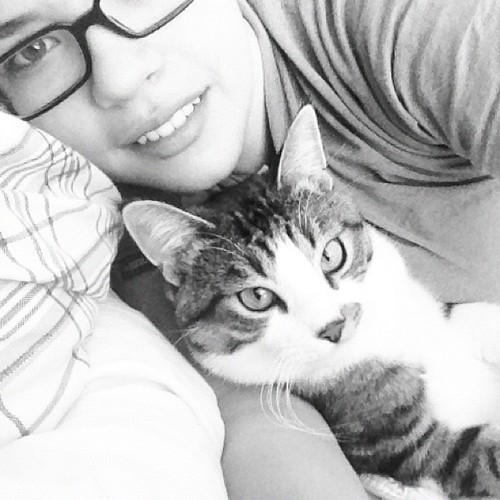 Cuddles every morning. #foreveralone #dontneednoman #ihaveacat #instacat #instagood #instamood #cat  #catsofinstagram #kitty #oliver #love #handsome