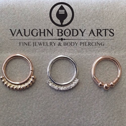 vaughnbodyarts:  If you're ready to take your cartilage or septum piercing to the next level of fancy, look no further than these gorgeous gold pieces from Body Vision Los Angeles, available here at Vaughn Body Arts.