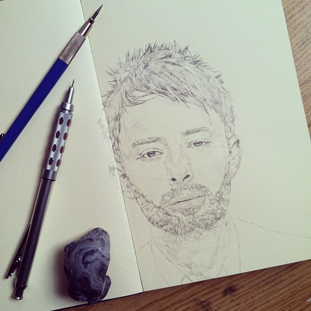 Daily #sketchbook #drawing #thomyorke graphite #portrait #benneedham #art #illustration#dessin#dibujo#artstagram#instaart#イラスト#hair #beard #moleskine