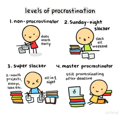 5oulles-body3ater-e:  chibird:  Procrastinating all day, every day. 8D  im mostly a master, but sometimes im a super slacker..