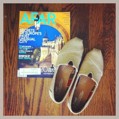 new shoes + new issue of my favorite magazine (about a city that Maddy and I plan to backpack through next year). so ready for my summer/gap year to start! 😍