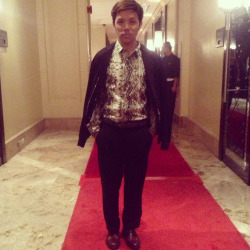 My outfit for the Philippine fashion ball 2013 wearing JustCavalli snake skin bottom down long sleeves