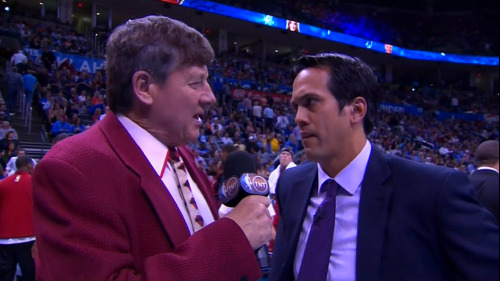 2/14/2013 - Heat @ Thunder Craig Sager 2nd quarter Coach's Corner interview w/Heat coach, Erik Spoelstra