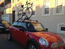 @MiniUSA Love this bike rack!  Who needs jewelry when your fiance gives you this sweet bike rack for Valentine's Day instead?  Matt and I installed it in about 30 minutes on a sunny Sunday afternoon. The instructions were easy to follow and aside from a few small misunderstandings on our part, we figured it out without a problem.  The best part is that as a short female, I was still able to easily lift my bike up on top of the car. My bike is extremly light, and I am extremly strong, but I think anyone with a dose of athleticism could do it too! Go here to find the perfect bike rack for your Mini: Shop Mini USA