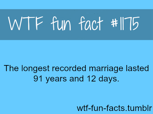 Longest recorded marriage  MORE OF WTF-FUN-FACTS are coming HERE education and weird facts ONLY