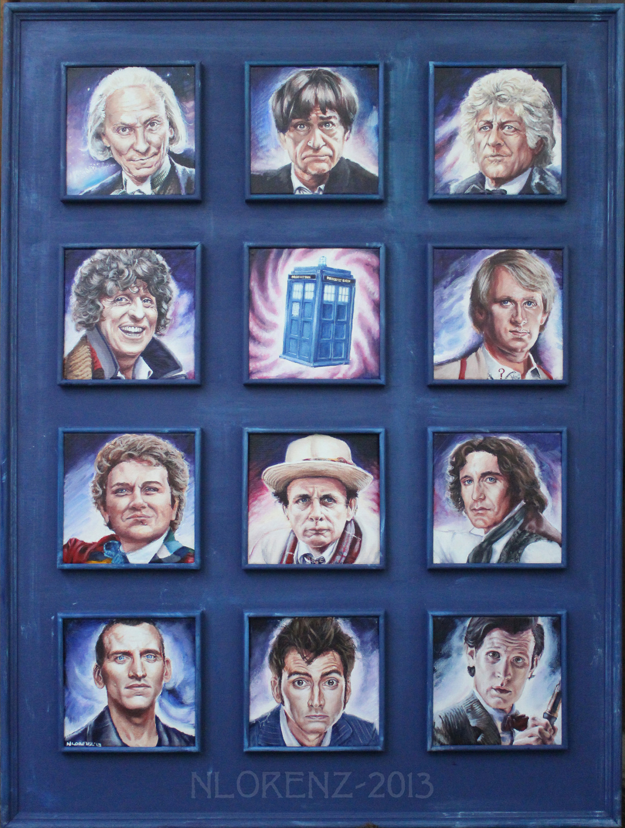 nancylorenz:  The 11 Doctors: 50th Anniversary Tribute to Doctor Who.By Nancy Lorenz. Each small canvas is six inches by six inches.  Acrylic on canvas.  It took three weeks to complete.  Frame built by Peter Lorenz. Detail Below.It would make my millenium if this were reblogged by the official Doctor Who tumblr. Painting this half killed me with the effort.  It's one of the most difficult paintings I have ever done!            I'm going to keep reblogging this until it's reblogged by the official Doctor Who tumblr.  That's all I want, people.  A reblog from them.  Can you help me?  I nearly lost my sanity painting this friggin' thing!!  All I ask is a little nod from the BBC!
