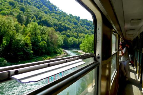 The best television, train journey through Slovenia. www.unfoldingexistence.tumblr.com