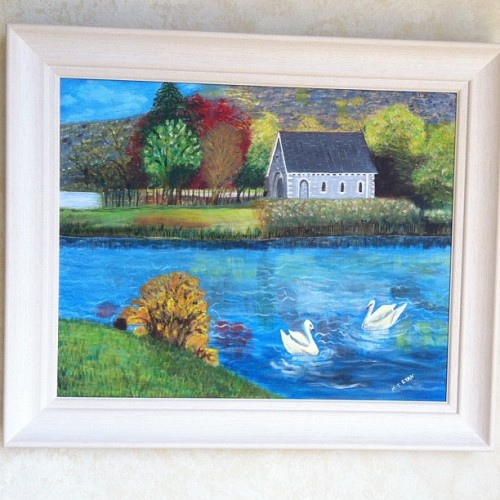 My Nan's artwork :) Gougane Barra, Cork #art#painting#acrylic#country#scenery#ireland#cork#artwork#nan