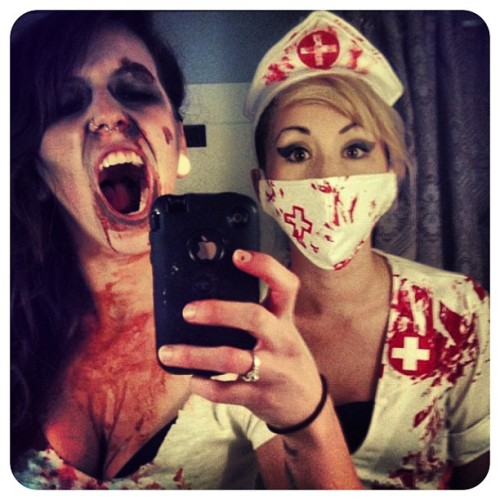 "ZombieGram of the Day: from @aconners Yay obligatory hot zombie nurses time! ""#PicFrame #tbt #igers #igdaily #instagood #zombie #blood #nurse #halloween #bestfriend @lnmack "" - aconners Got Instragram? Love Zombies? Tweet your #ZombieGram at @PGZcast and we'll put you on our blog!"