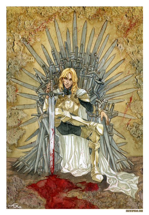 slothinasweater:  Jaime Lannister after the Battle of The Trident and the killing of King Aerys II Targaryen.—-More art from: http://noiry.deviantart.com/