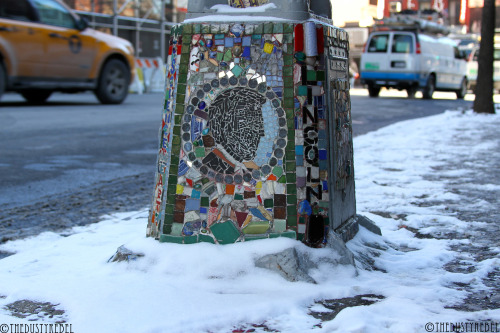 The Mosaic Trail This pole celebrates The Cooper Union Speech, delivered by Abraham Lincoln on February 27, 1860.Cooper Union, NYCMore photos of Jim Power, The Mosaic Man's work.