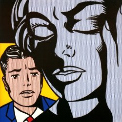 slcvisualresources:  Roy Lichtenstein - Tensionoil and magna on canvas - 1964 Roy Lichtenstein was an American pop artist. During the 1960s, along with Andy Warhol, Jasper Johns, and James Rosenquist among others, he became a leading figure