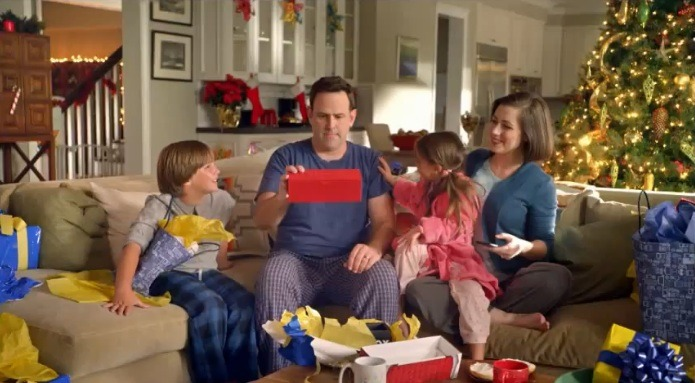 Whitney Avalon (far right) in a holiday-themed national commercial.
