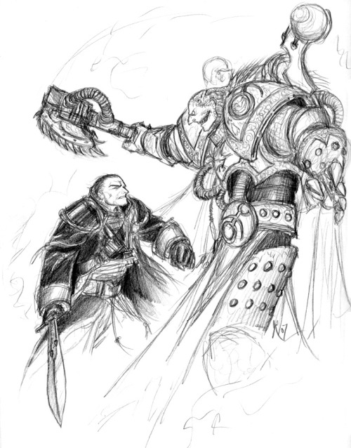 "slaaneshi-party-bus:  ""Eisenhorn vs Mandragore by JRinaldi""So I'm re-reading the Eisenhorn trilogy.  Taking on one of the Emperor's Children with only a powersword? No fucks given."