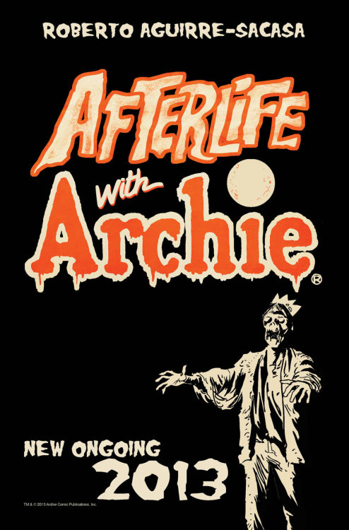 "Never ones to shy away from exploiting current trends to make a buck, Archie comics will be releasing the horror comic Afterlife with Archie later this year. (You may remember that this concept originated as a variant cover to Life With Archie issue # 23 by Francesco Francavilla). Here's the details via Comic Book Resources:   AFTERLIFE WITH ARCHIE will provide readers with zombie-filled mayhem like only Archie can, taking the Riverdale gang where they've never been before – to the grave and back. In addition to his Archie credits, Aguirre-Sacasa has made a name for himself in the world of television (writer/producer on GLEE), Broadway musicals (Spider-Man: Turn Off the Dark), and movies, penning the remake of Stephen King's Carrie, which premieres this fall. ""Roberto's a superstar writer,"" said Archie Co-CEO Jon Goldwater. ""Working with him on the upcoming AFTERLIFE WITH ARCHIE is the next step in the ever expanding Archie universe."" ""AFTERLIFE WITH ARCHIE combines two of my great passions: Archie comics and horror comics,"" said Aguirre-Sacasa. ""This series came out of conversations with Jon [Goldwater], asking questions like, 'what if the Archie characters found themselves in a Stephen King novel like The Stand or a Sam Raimi movie like The Evil Dead?' Could we pull that off, tonally? We're really going for it. The first arc is called 'Escape from Riverdale.' The second arc is called, brace yourself, 'Betty RIP.' Of course, all the horror stuff will be balanced by elements that are quintessentially Archie."" So there you have it. Now I am pretty much the biggest Archie dork you're ever likely to meet and while I have zero interest in Aguirre-Sacasa's Archie/Glee crossover, I am hugely excited about this new series for a few reasons. First and foremost, the mashing up of horror and Archie is a brilliant idea (as fans of the short-lived Chilling Adventures in Sorcery as Told by Sabrina will be quick to point out).Secondly, before he began working for Archie, Aguirre-Sacasa wrote the controversial play Archie's Weird Fantasy, so he knows how to lovingly spoof the characters. This one came completely out of the blue, but you can bet you'll hear much more from me about this as its release approaches."