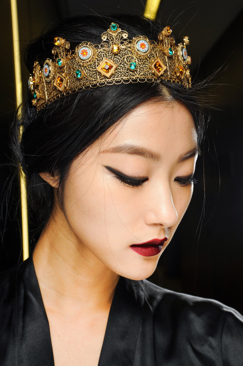 Ji Hye Park backstage Dolce and Gabbana Fall 2013