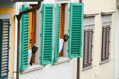 Who's that looking out my window - POW Art Comes First at Pitti Uomo photo - David Pattinson