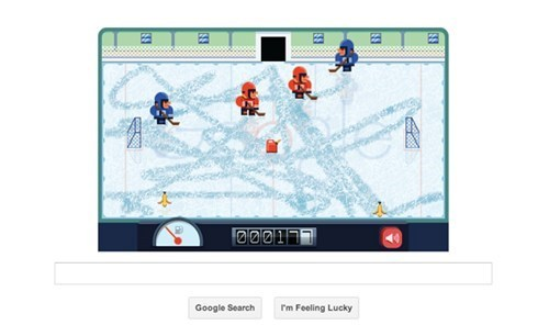 thedailywhat:  Google Doodle of the Day  Today's Google Doodle celebrates the 112th birthday of Frank Zamboni Jr., the inventor of the Zamboni ice resurfacing vechicle. The doodle is actually a pixel art interactive game in which the player must clean an ice rink within an allotted amount of time.