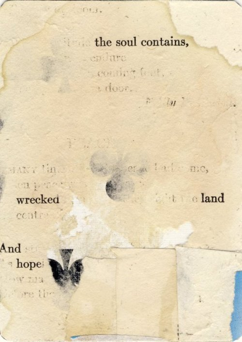 dulcetdecember:  7 Words, distressed page from old poetry book on playing card (by Richard Leach)