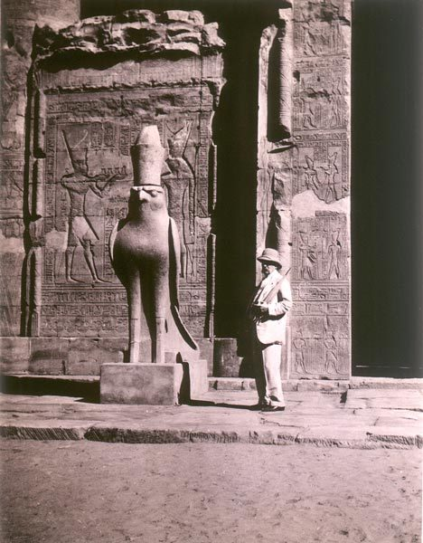 centuriespast:  Photograph of Pierpont Morgan at the Temple of Horus at Edfu, Egypt The Morgan Library