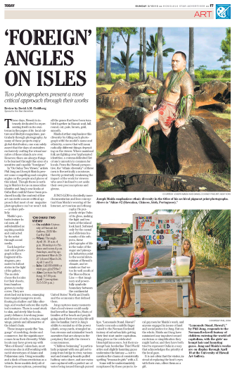 "Honolulu Star-Advertiser reviews JOSEPH MAIDA's New Natives in On O'ahu: Two Views at the Art Gallery at the University of Hawaii, Mānoa, though April 10, 2015.'Foreign' Angles On IslesTwo photographers present a more critical approach through their worksBy David A.M. Goldberg / Special to the Star-Advertiser Mar 15, 2015These days, Hawaii is intensely dedicated to representing itself on its own terms in the pages of its local culture and lifestyle magazines, particularly through photography. As many of these projects enjoy global distribution, one can safely assert that the days of outsiders exclusively crafting the visual narrative of these islands are over. However, there are always things to be learned through the eyes of a sensitive and capable ""foreigner.""In ""On Oahu: Two Views,"" artists Phil Jung and Joseph Maida present some compelling and complex angles on the people and places of this island. Though there is nothing in Maida's focus on masculine identity and Jung's raw looks at Oahu that couldn't have been produced locally, the context of fine art can invite a more critical approach that most of our magazine photographers can't or won't risk — or share publicly.Maida's portraits feature local men, all self-identified as aspiring models and contacted by the artist through social media. Each large-format color photograph is like a fragment of Instagram, promoted to full art status in the light of the gallery. The models chose the locales for their shoots, from bamboo groves to rocky coves. They are stretched out in trees, emerging from tangled mangrove roots, floating in shallow surf like offerings, and washed ashore like mythical creatures. There is sand stuck to skin, and steely blue looks, pouty defiance, low-slung jeans and tattoos of owls, octopus, angel wings, pistols and silhouettes of the island chain. These images speak the ""language"" of modeling, desire and commerce, but the significance comes from their diversity. While locals may have grown up with ""Men of Hawaii"" calendars, most everyone else is still working with racist stereotypes of Asian and Polynesian men. Using sexuality and a dash of homoeroticism as a vehicle, these models defy all of those preconceptions, presenting all the genes that have been tumbled together in Hawaii: waif, full, round, cut, pale, brown, gold, smooth.Maida further emphasizes this diversity by titling each photograph with the model's name and ethnicity, a move that will mean radically different things depending on the viewer. Where mainland folk are fighting over hyphenated identities, a comma-delimited list of one's ancestry is common for locals. From the Hawaii perspective, the ""ethnic diversity"" of these men is theoretically a nonissue, thereby potentially weakening the impact of the work for viewers who aren't inclined to set aside their own preconceptions and givens.Jung's lens is decidedly more documentarian and less conceptual than Maida's weaving of the Internet, art tourism and ethnography. He purposely strips Oahu of its gloss, making the light and textures of the island look hard. Softened only by the casual and oblivious humanity of his subjects, these photographs of life in the wake of the sugar and pineapple industries point to the social determinism of Hawaii's climate, and reminds us that we too lie well south of the Mason-Dixon Line — that imaginary and powerfully symbolic boundary between the continental United States' North and South and the economics that defined them.Jung captures many moments that a local viewer could easily find herself or himself in. Shots of families at the beach and people going about their everyday life will also be familiar, but it is Jung's ability to remind us of the power plants, scrap yards, strangled urban streams and minimalist beach amenities that are always in the periphery that jolts the viewer's consciousness.""Children Swimming"" is particularly poignant with one girl set to jump from bridge to river, various surf and stand-up boards pulled halfway onto shore, and one swimmer captured with a perfect arc of water being issued through pursed lips. ""Lemonade Stand, Hawai'i"" barely conceals a middle finger raised to the Norman Rockwell fantasy of suburban kids getting their first start under capitalism. Jung gives us the celebrated blond-girl innocence, but their unkempt hair, borderline Third World attire and slightly haunting gazes undermine the fantasy — not to mention the charm of consistently spelling ""lemonade girls"" with a Z.Some will be understandably nonplussed by these projects: local gay men for Maida's work, and anyone engaged in issues of land and social justice for Jung. But on the whole, Maida and Jung have minimized any impulses toward exoticism or simplification they might harbor, and they have both tried to represent Oahu in a way that acknowledges the priority of the local gaze.It is not often that the visitor, instead of replacing the host's eyes with their own, offers them as a gift.Copyright (c) Honolulu Star-Advertiser"