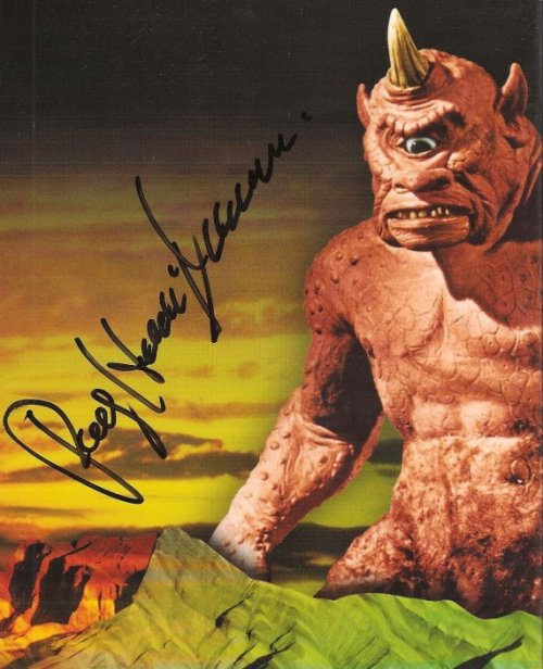 My wife and I  met Ray Harryhausen in Austin back in 2006. I got to thank him for all his masterful work, and for all the artists he's inspired. He signed this DVD set, and a copy of his book. And I got to shake the hand that called all that magic down to Earth. One of the happiest, nerdiest moments of my very nerdy life. Make room in Olympus for him.