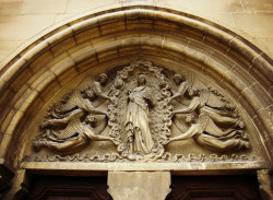 Tympanum, the church at Auvers-sur-Oise, France. Photo by Amber Maitrejean