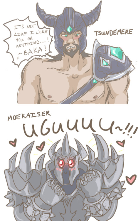 tophatcats:  I somehow accidentally read Tryndamere as TSUNDEmere. And then Mordekaiser soon became MOEkaiser. Oop.