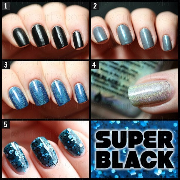 Swatches of some Super Black Lacquers are on the #blog today! 1⃣Murdered Out 2⃣The Whale 3⃣Torque 4⃣Wishful Thinking 5⃣The Bends #nails #nailswag #ignails #instanails #ididthemmyself #mani #manicure #nailsofinstagram #review #swatch #press sample #beautyblogger #bblogger #glitter #holographic #matte #indie #indiepolish #glitterpolish #SuperBlack