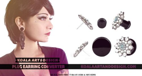 "Plug-earring converter by Koala Art & Design. ""The Plug to Earring Converter is here! Simply take any set of conventional earrings and insert them into the hole on the face of the plug, my patented inner device secures the earring and keeps it in place. Now girls with plugs can wear earrings!  Buy it here http://store.koalaartanddesign.com/  Watch them in action here http://www.youtube.com/watch?v=aXTWOqp5aM4 """