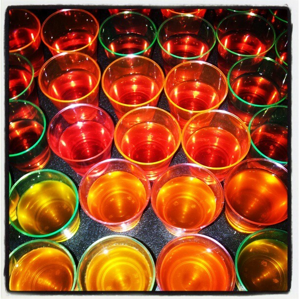 Vodka Strawberry + Cointreau Orange jello shots