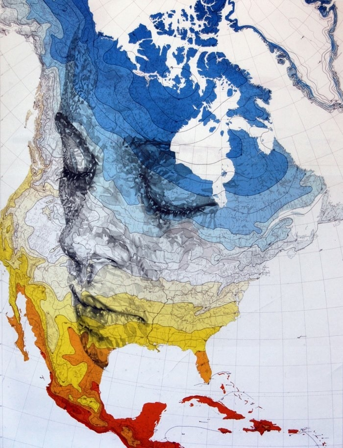 "archiemcphee:  Artist Ed Fairburn does awesome things with maps. The top two images are from his North America Series. They're pencil drawings on climate charts of North America.  ""The angled perspectives have been plotted to compliment the sweeping shape of North America,"" he states, ""the variations between the colors of Part I and Part II were a conscious decision; the warmer colors reflect a passionate pose while the colder blues suggest a more sombre mood.""  The second and third pieces were created in collaboration with Bobbie-Jo, Ed Fairburn's partner and printmaker. The second is part of the Western Front Cutout Series and the third is entitled Stafford Lane. Both are ink drawings on old military maps that were then cut and layered over the more colourful North American climate charts. Visit Ed Fairburn's website to view more of his beautiful artwork. [via My Modern Metropolis]"