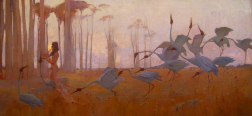 fletchingarrows:  piquette:  Sydney Long, Spirit of the Plains,1897Art Gallery of Queensland, Sydney Austrailia  a song of the coming springtime