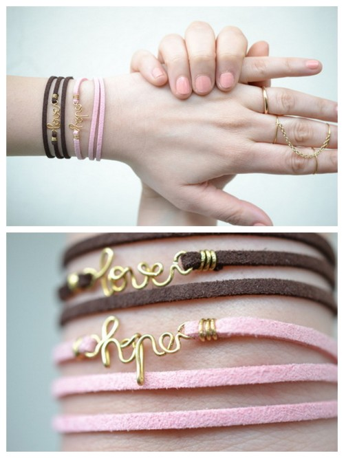 truebluemeandyou:  DIY Leather Wrapped Wire Word Bracelet Tutorial from Born in '82 here. I post lots of wire crafts because they are cheap, easy and so customizable. This tutorial is unique because of the way the leather is wire wrapped instead of knotted. For 20 pages more of wire DIYs (and lots of wire word jewelry) go here: http://truebluemeandyou.tumblr.com/tagged/wire