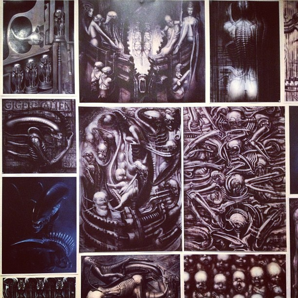A portion of the other side of my #wall, the #giger side. Mmmmm sexy. #art #hrgiger #xenomorph #alien