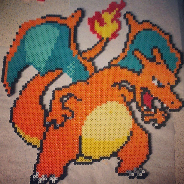 Im crafty #charizard #perlerbead #pokemon #beadsprites #mine