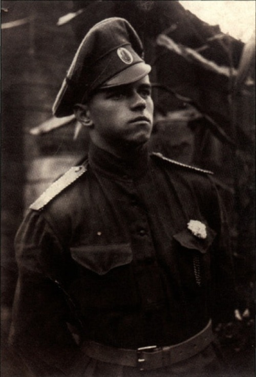 "georgy-konstantinovich-zhukov:  A young White Army officer in late 1917. The white flower he wears not only shows his allegiance  but was also meant to symbolize honor and loyalty. Especially in the early parts of the Civil War, the Whites were almost all volunteers driven by ideology, as the leadership was unsure whether to resort to conscription, as many suspected it would be counter productive, not just by further alienating the population, but also opening an easy door for Socialism to infect the ranks. Because of this, the White Armies often had such a high percentage of men from the officer classes, that even many senior officers had to resort to junior roles, and those with less seniority had no choice but to serve as simple privates. Often they would be formed into a single, elite ""officer's company"" where they would serve until losses elsewhere required their reassignment."