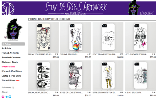 We have some more stuk girl art goodies available for you all at our new society6 satellite store. We are soooo excited to announce that we now have iphone cases,  laptop and ipad skins, throw pillows (ACTUAL pillows NOT JUST THE CASES) and ipod and iphone skins! When we create more illustrations there will be the latest STUK Girl sketches available on new merchandise. And – we will frequently be adding more illustrations to cases so stop by the store frequently! Thank you all for the love and support! We hope you love the new merch! Xo.  SHOP HERE!!! SHOP HERE!!!