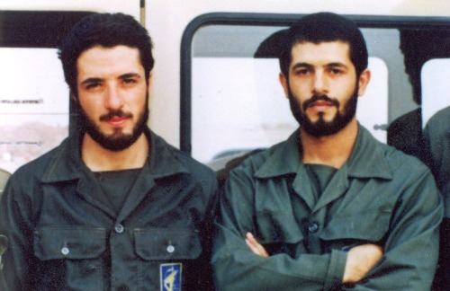 Ebrahim Hadi and Ali Tajalaie, Two young commanders of The Iranian volunteer forces during the with Iraq. Both were killed during the war. Many Iranian soldiers and commanders during the war with Iraq had no real military training and most were very young. The Imperial Iranian Army was abolished after the revolution and many of It's commanders either left the country or were in jail or executed. Iran had no real Army especially in the first year of the war, But It was defended by young volunteer forces.