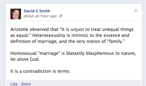 "(via Illinois Family Institute president says gay marriage is 'blatantly blasphemous to nature' - Good As You:: Gay and Lesbian Activism With a Sense of Humor) Just hours before supporters of ""traditional marriage"" will deny animus before the legislature, the head of the state's ""pro-family"" lobby group IFI is doing all he can to prove otherwise. He's out of touch."