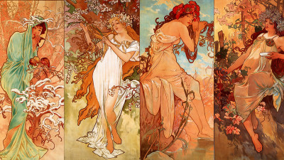 betweenglasspanes:  Seasons - Alphonse Mucha