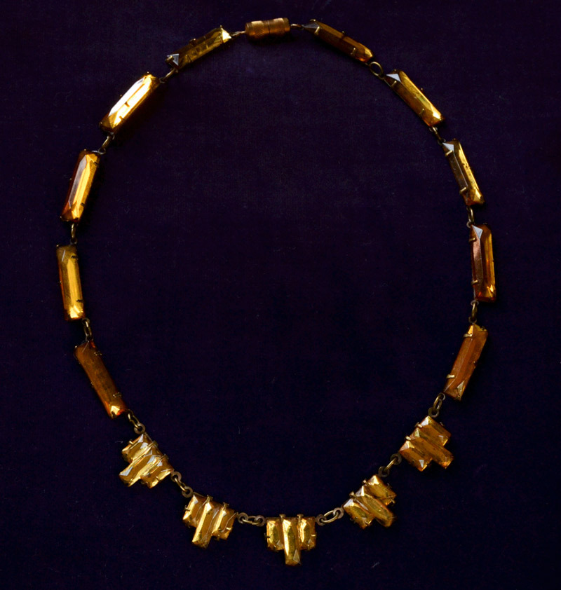 1920-30s Art Deco Mirrored Topaz Colored Glass Necklace, Brass, $195